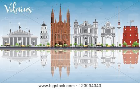 Vilnius Skyline with Gray Landmarks, Blue Sky and Reflections. Vector Illustration. Business Travel and Tourism Concept with Historic Buildings. Image for Presentation Banner Placard and Web Site.