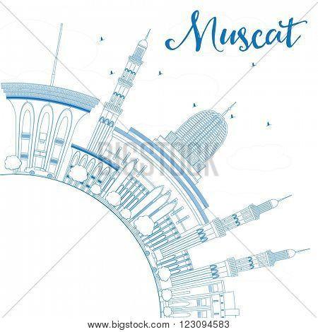 Outline Muscat Skyline with Blue Buildings. Vector illustration. Business Travel and Tourism Concept with Copy Space. Image for Presentation Banner Placard and Web Site.