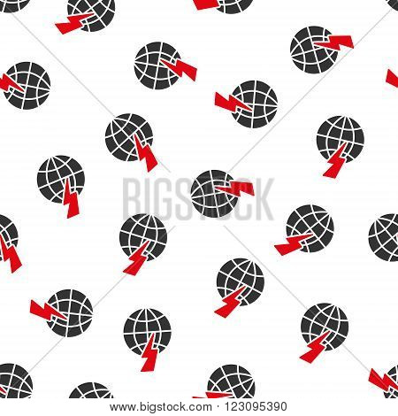 Global Shock vector seamless repeatable pattern. Style is flat red and dark gray global shock symbols on a white background.