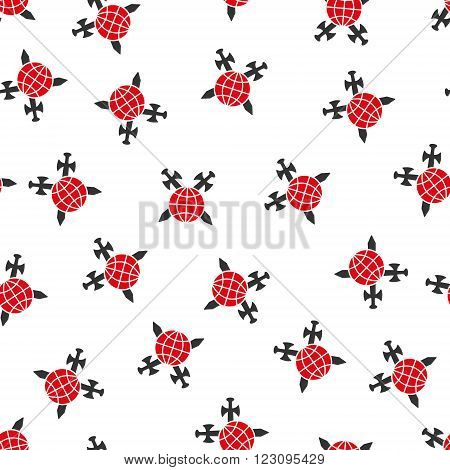 Global Swords Protection vector seamless repeatable pattern. Style is flat red and dark gray global swords protection symbols on a white background.