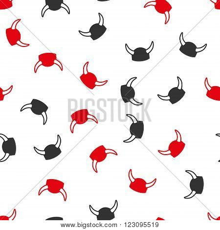 Horned Helmet vector seamless repeatable pattern. Style is flat red and dark gray horned helmet symbols on a white background.