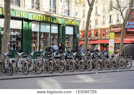 Paris, France, February 9, 2016: bycicle parking in a center of Paris, France