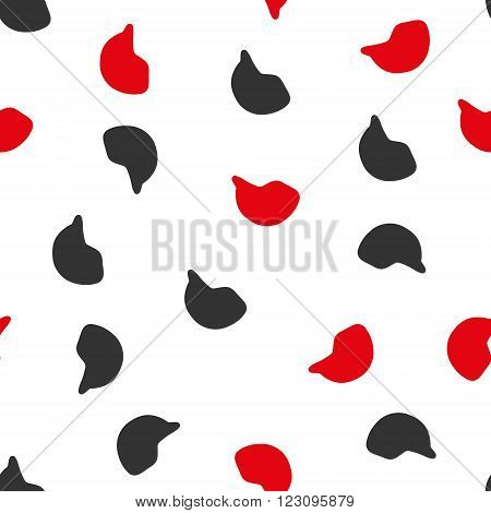 Motorcycle Helmet vector seamless repeatable pattern. Style is flat red and dark gray motorcycle helmet symbols on a white background.