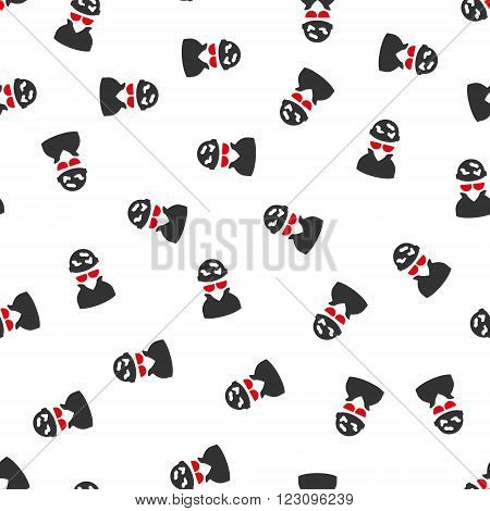 Spotted Spy vector seamless repeatable pattern. Style is flat red and dark gray spotted spy symbols on a white background.