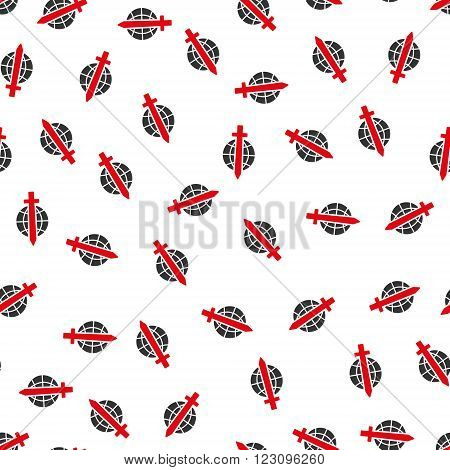 Sword Globe vector seamless repeatable pattern. Style is flat red and dark gray sword globe symbols on a white background.