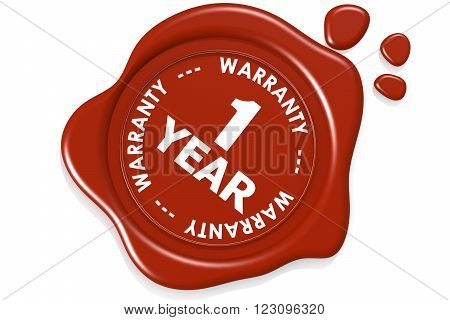 One year warranty seal isolated. 3D rendering