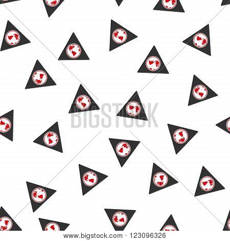 Terra Triangle vector seamless repeatable pattern. Style is flat red and dark gray terra triangle symbols on a white background.