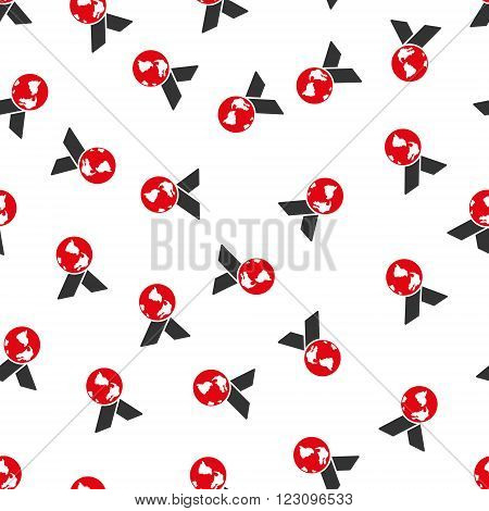 World Medal vector seamless repeatable pattern. Style is flat red and dark gray World medal symbols on a white background.