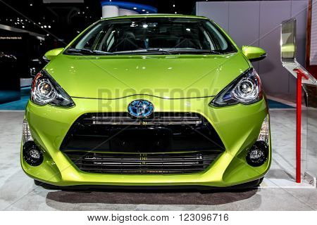 NEW YORK - March 23: A Toyota Prius c exhibit at the 2016 New York International Auto Show during Press day,  public show is running from March 25th through April 3, 2016 in New York, NY.