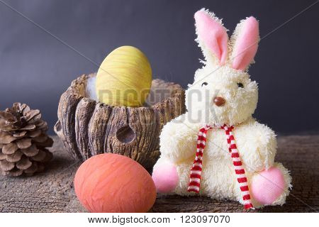 Still life,Painted  colored eggs easter on old wood