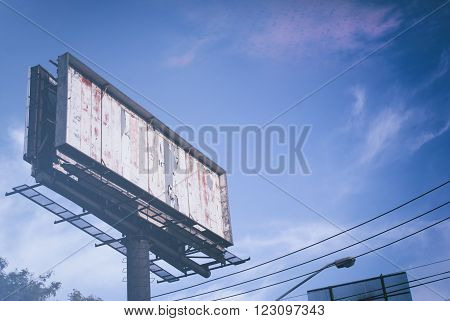 Photograph of an empty panoramic publicity sign