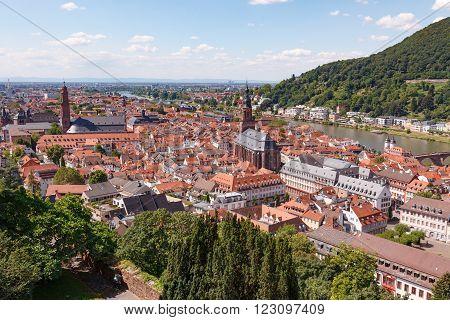 Heidelberg city in Germany at sunny summer day