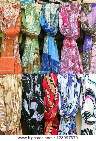 Various scarves in a street market in Turkey