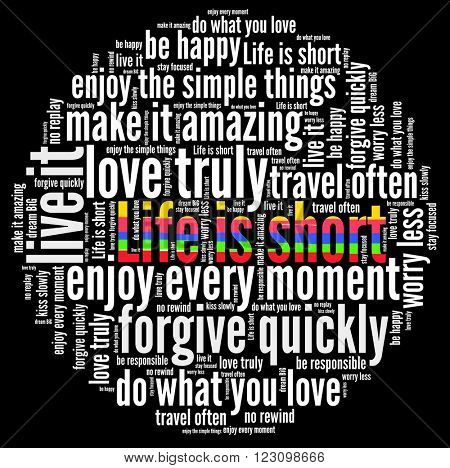 Life is short in word collage