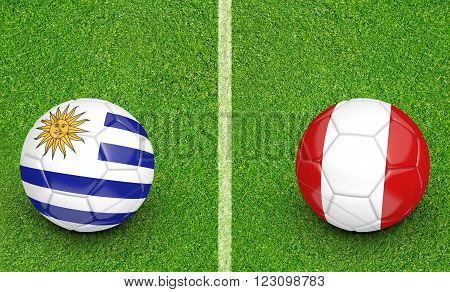 Qualifier preliminary football match between country teams Uruguay and Peru