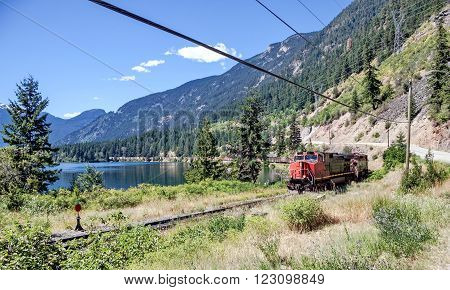 Freight train goes on the Canadian Pacific Railway through the Birkenhead Lake Provincial Park