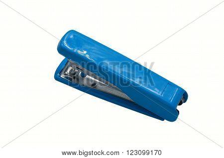 one blue stapler in the white background