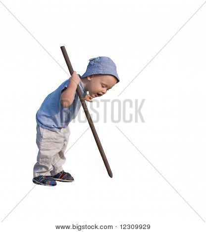 a boy - 1-2years old holding a long stick