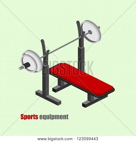 Bench press to the gym vector isometric illustration.
