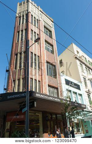 Wellington New Zealand - February 2016; Hibernian House Wellington CBD example of Art Deco architecture Hibernian House frome Catholic Hibernian Society