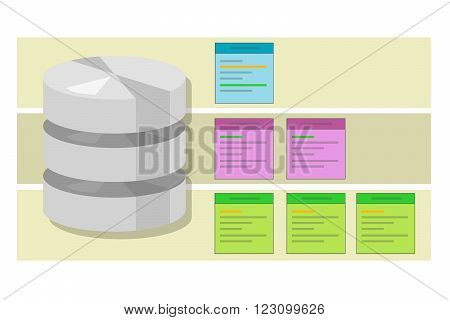 data table query database index symbol vector illustration concept flat