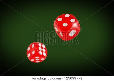Red dice fall on the casino table. concept.