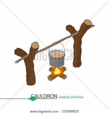 The soup is cooked in a cauldron over a fire. Isometric vector illustration.