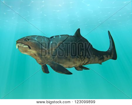 An 3D illustration of the giant (30 feet) prehistoric fish Dunkleosteus swimming. Dunkleosteus was a placoderm fish that existed during the Late Devonian period about 380-360 million years ago.