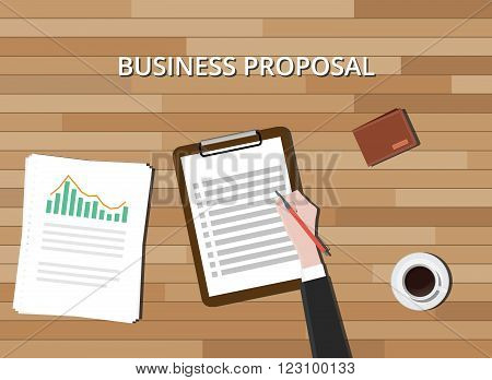 business proposal document with clipboard graph and wood background vector