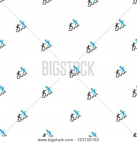 Alien Training Help vector seamless repeatable pattern. Style is flat blue and dark gray alien training help symbols on a white background.