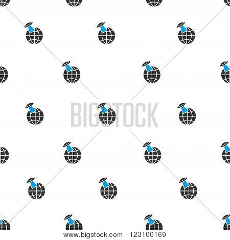 Alien Visit Earth vector seamless repeatable pattern. Style is flat blue and dark gray alien visit earth symbols on a white background.