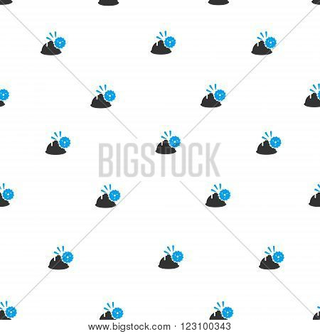 Circular Blade Head Protection vector seamless repeatable pattern. Style is flat blue and dark gray circular blade head protection symbols on a white background.