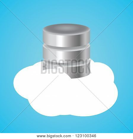 cloud database with clouds and database illustration vector illustration