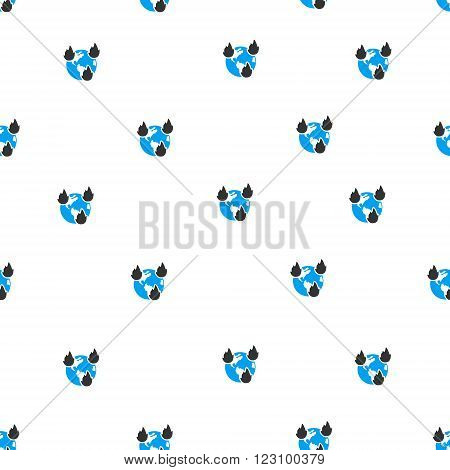Earth Disasters vector seamless repeatable pattern. Style is flat blue and dark gray earth disasters symbols on a white background.