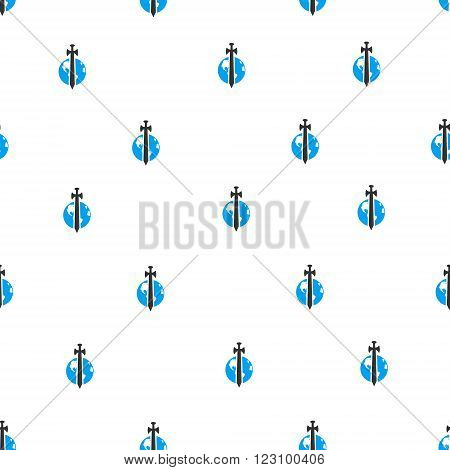 Earth Military Protection vector seamless repeatable pattern. Style is flat blue and dark gray earth military protection symbols on a white background.