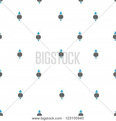 Global Safety Sword vector seamless repeatable pattern. Style is flat blue and dark gray global safety sword symbols on a white background.