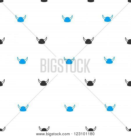 Horned Helmet vector seamless repeatable pattern. Style is flat blue and dark gray horned helmet symbols on a white background.