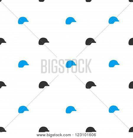 Motorcycle Helmet vector seamless repeatable pattern. Style is flat blue and dark gray motorcycle helmet symbols on a white background.