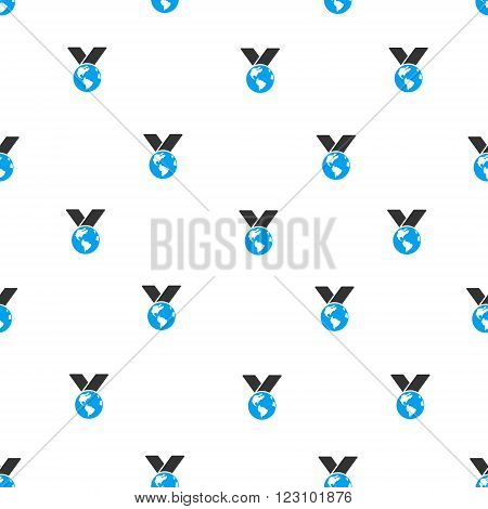 World Medal vector seamless repeatable pattern. Style is flat blue and dark gray World medal symbols on a white background.