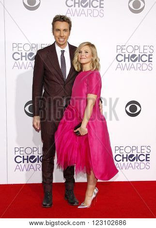 Dax Shepard and Kristen Bell at the 41st Annual People's Choice Awards held at the Nokia L.A. Live Theatre in Los Angeles on January 7, 2015.