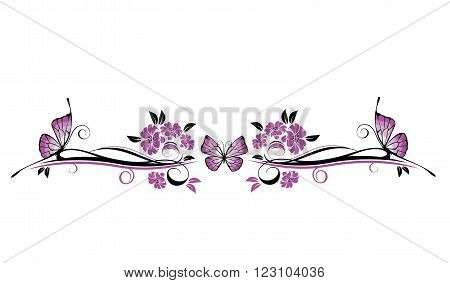 Vector floral ornament with butterfly  isolated on a white background