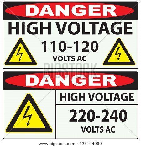 Options for preventing high voltage Danger. Vector illustration.