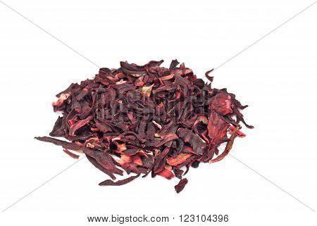 Hibiscus tea macro dry flower isolated on white
