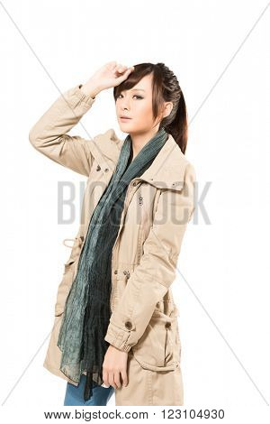 Modern Asian woman with winter coat