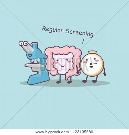 Regular screening with intestine microscope and clock-great for health care concept