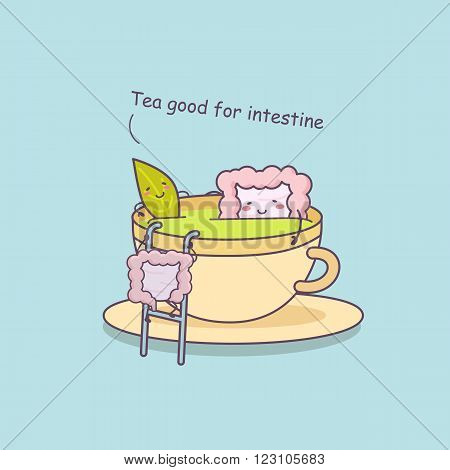 Tea is good for intestinegreat for health care concept