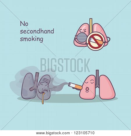 cute cartoon lung with secondhand smoke great for health care concept