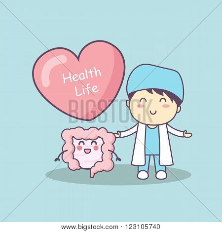 cute cartoon doctor with intestine great for health life concept
