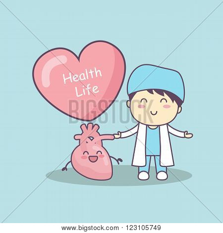 cute cartoon doctor with heart great for health life concept