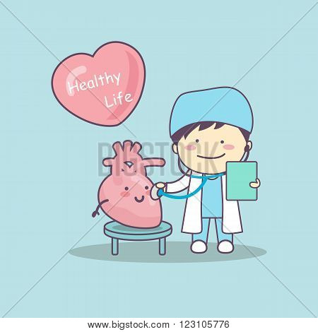 cute cartoon doctor check heart great for health life concept